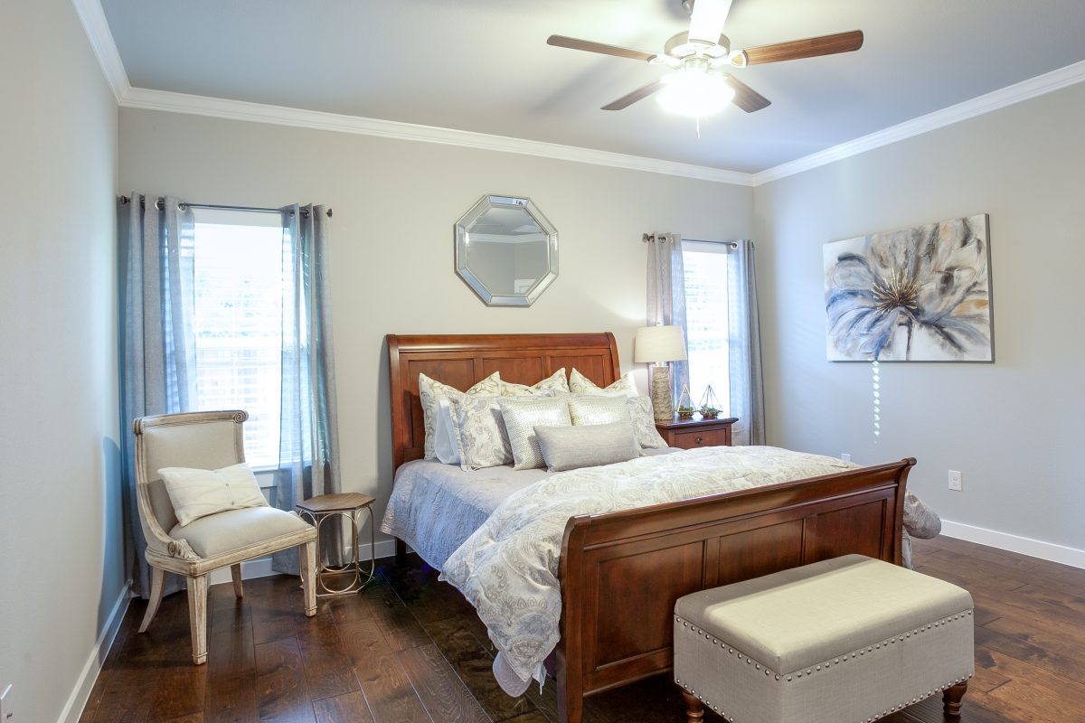 newly decorated bedroom in a new home for sale in denton tx